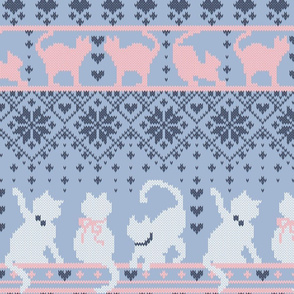 Fair Isle Knitting Cats Love // normal scale // violet background dark violet white and pink kitties and details