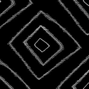 Jumbo stripy boho rectangle white on black