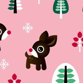 Christmas time reindeer winter wonderland with forest trees and snow flakes pink girls JUMBO