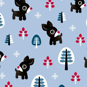 Christmas time reindeer winter wonderland with forest trees and snow flakes cool winter blue boys
