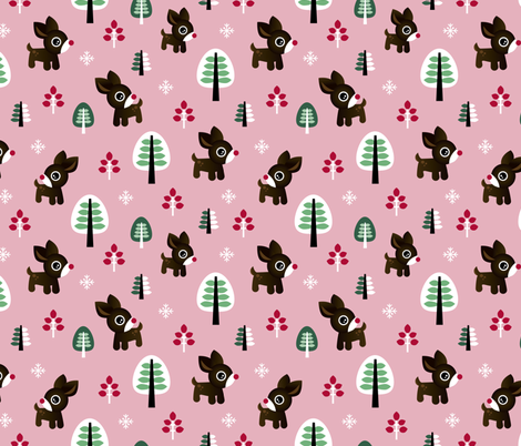 Christmas time reindeer winter wonderland with forest trees and snow flakes pink winter girls fabric by littlesmilemakers on Spoonflower - custom fabric