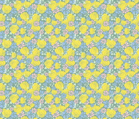 Green  Floral Pattern fabric by arshia_farhangi on Spoonflower - custom fabric