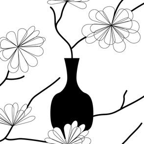 jumbo white lotus bouquet black and white