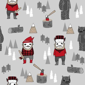 lumber jack fabric // woodcutter fabric, cabin, outdoors, plaid, buffalo plaid fabric - holiday winter - grey