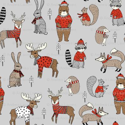 christmas woodland fabric // christmas fabric, woodland animals fabric, cute fabric, holiday sweaters fabric, grey