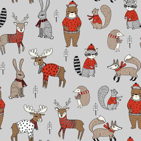 christmas woodland fabric // christmas fabric, woodland animals fabric, cute fabric, holiday sweaters fabric, grey fabric by andrea_lauren on Spoonflower - custom fabric