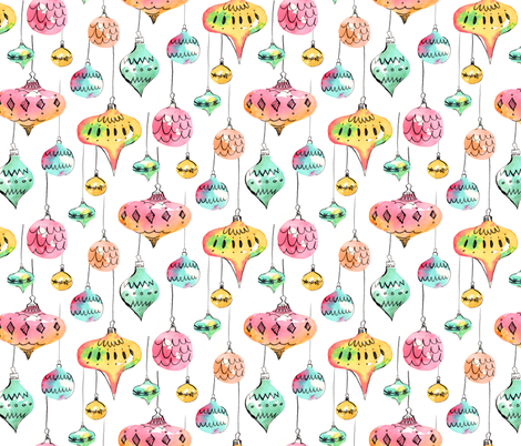 Watercolor Christmas Ornaments fabric by arthousewife on Spoonflower - custom fabric