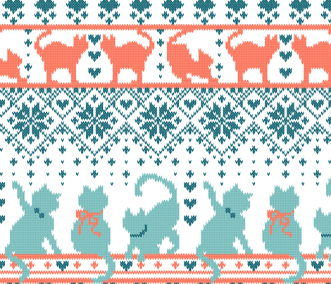 Fair Isle Knitting Cats Love // normal scale // white background teal and orange kitties and details fabric by selmacardoso on Spoonflower - custom fabric