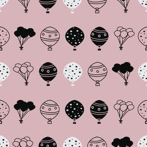 Peach Balloons Horizontal Stripes Pattern