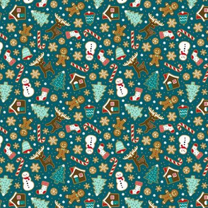Christmas gingerbread cookies on dark teal (mini)