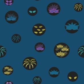 Indigo Party Masks Circles Pattern