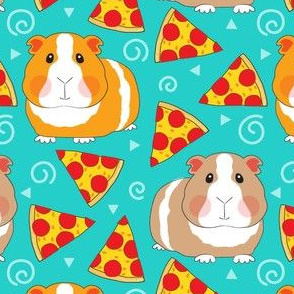 large guinea pigs and pepperoni pizza slices