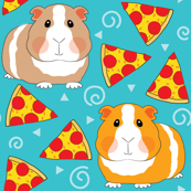 guinea-pigs-with-pizza on teal