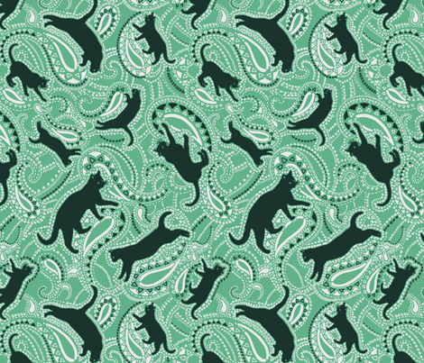 Cats-kittens-paisley-green-big fabric by paisleypower on Spoonflower - custom fabric