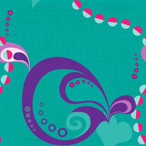sixties shapes on turquoise - large