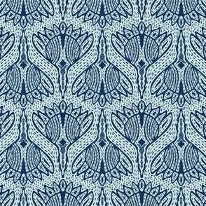 Floral Motif Sashiko Style Japanese Needlework Indigo