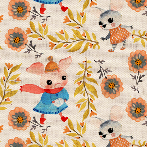 piggi and mouse fabric by potyautas on Spoonflower - custom fabric