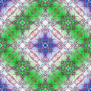 Another Abstract Fractal Diamond Pattern in blue, green, red and white