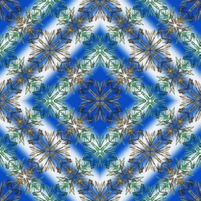 Abstract Fractal Diamond Pattern in blue, green and tan