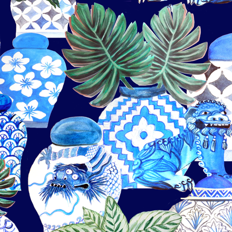 Chinese ginger jars, foo dogs & palms fabric by magentarosedesigns on Spoonflower - custom fabric