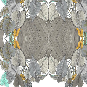 Banana Leaves in taupe, gray and aqua
