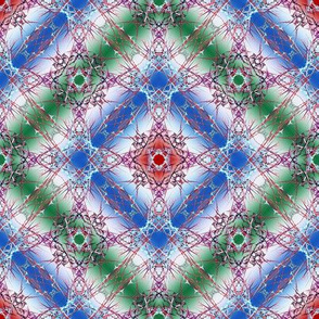 Abstract Fractal Diamond Pattern in blue, green, red and white