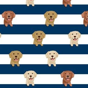 golden retriever stripes fabric - cute golden retriever dog, dog fabric, dogs fabric, golden retrievers stripes - navy