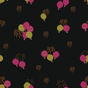 Black Hot Air Balloons with Fireworks Pattern