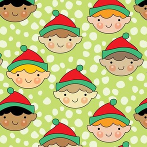 cute elf faces on lime