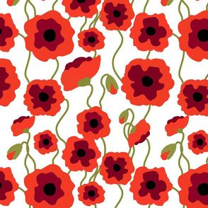 Red poppy flowers on white seamless pattern
