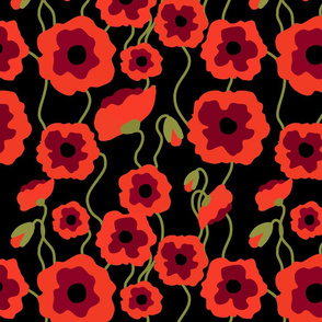 Red poppy flowers on black seamless pattern