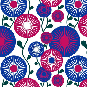 Retro flowers blue pink white
