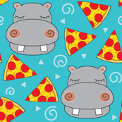 hippos-with-pizza on teal