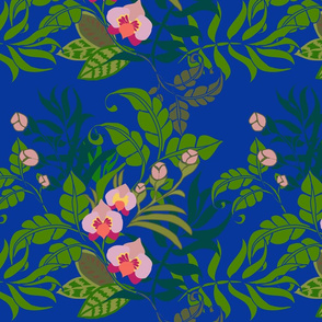Tropical orchid on royal blue
