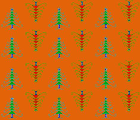 Contemporary Christmas Trees Orange fabric by vagabond_folk_art on Spoonflower - custom fabric