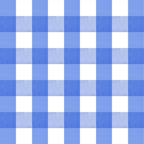 Watercolor Gingham Plaid Blueberry Colbalt