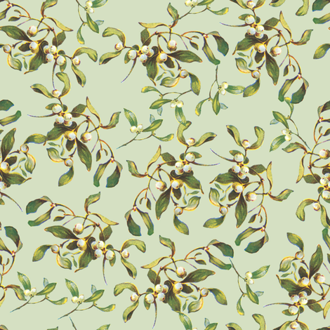 Mistletoe Merry basil fabric by lilyoake on Spoonflower - custom fabric
