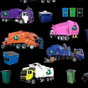 Garbage Truck Collage Large