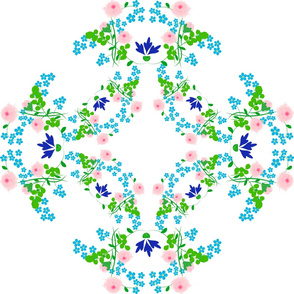 Pink and Blue folk art floral