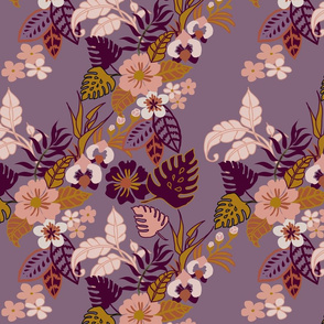 Tropical vines and flowers on purple
