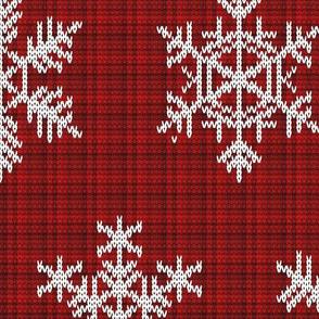 Fair Isle Snowflakes On Plaid Red