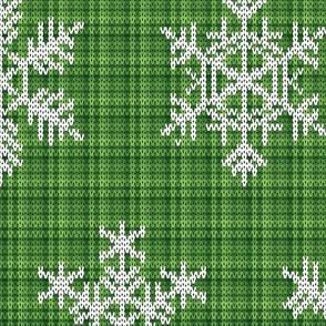 Fair Isle Snowflakes On Plaid Green