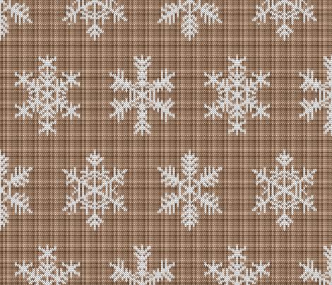 Fair Isle Snowflakes On Plaid Camel fabric by elizabeth_chia on Spoonflower - custom fabric