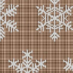 Fair Isle Snowflakes On Plaid Camel