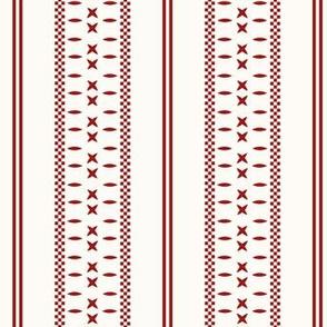 Cross Ladder Stripe: Candy Apple Red & Cream Farmhouse Stripe