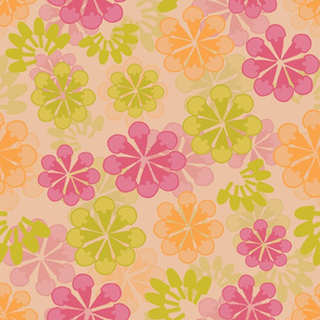 Orange Floral Transparency Pattern