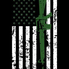 AR15 US Flag - Green - 2 yard Minky Layout