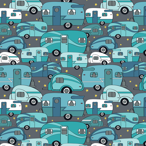 Cozy Campers Blue/Turq (Small) fabric by sarahcatherinedesignsinc on Spoonflower - custom fabric