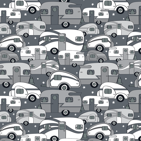 Cozy Campers Black/White/Gray (Small) fabric by sarahcatherinedesignsinc on Spoonflower - custom fabric