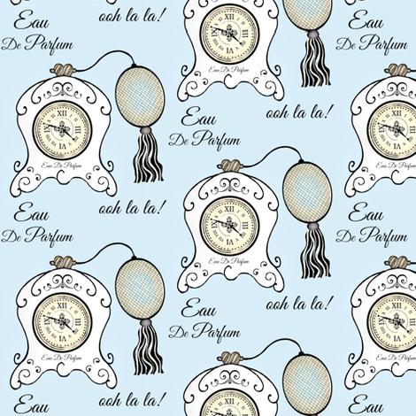 Très Féminin / Vintage Clock lgt. blue  fabric by franbail on Spoonflower - custom fabric